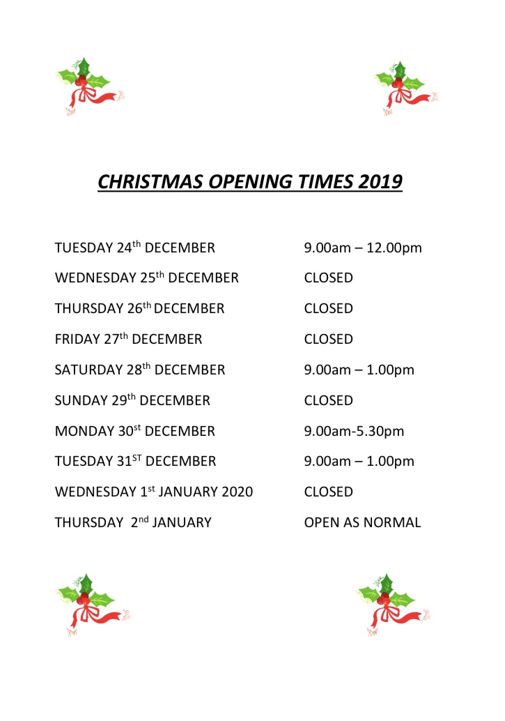 Don't forget our opening hours change over the festive period